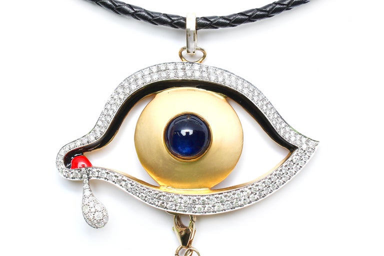 Contemporary Clarissa Bronfman Signature Onyx, Diamond, Sapphire' Introspective Symbol Tree For Sale