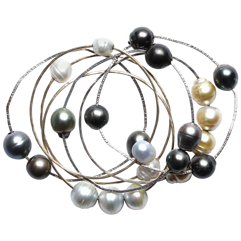 Clarissa Bronfman Freshwater Pearl Bangle Bead Set