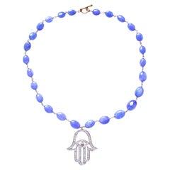 Clarissa Bronfman Tanzanite Diamond Gold Plated Hamsa Hand Choker Necklace