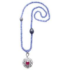 Clarissa Bronfman Tanzanite, Sapphire, Diamond Ruby Beaded Pendant Necklace