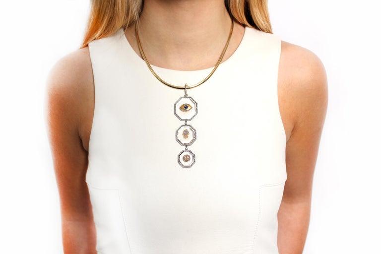 Modern Clarissa Bronfman Three-Tier Crystal Ruby/Sapphire/Emerald Pendants For Sale