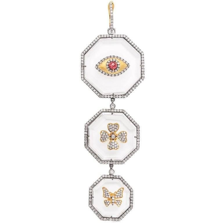 Emerald Cut Clarissa Bronfman Three-Tier Crystal Ruby/Sapphire/Emerald Pendants For Sale