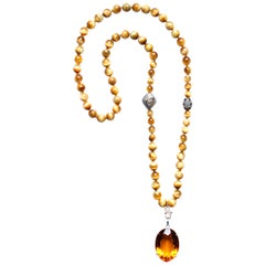 Clarissa Bronfman Tiger Eye Beaded Necklace with Citrine Pendant