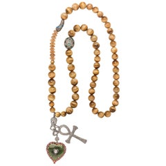 Clarissa Bronfman Tiger Eye Beaded Necklace with Emerald, Diamond, Ruby Heart