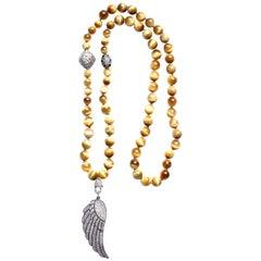 Clarissa Bronfman Tiger Eye, Diamond, 14 Karat Gold, Sapphire Beaded Necklace