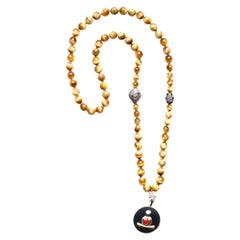 Clarissa Bronfman Tiger Eye Sapphire Diamond 14k Gold Enamel Buddha Necklace