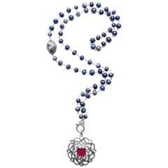 Clarissa Bronfman Tourmaline, Diamond, Silver, Ruby, Sapphire Rosary Necklace