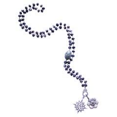 Clarissa Bronfman Tourmaline Emerald Rose Cut Diamond Gold Rosary Pendant Neckla