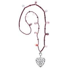 Clarissa Bronfman 'Valentines' Rubellite Garnet Diamond Heart Pendant Necklace