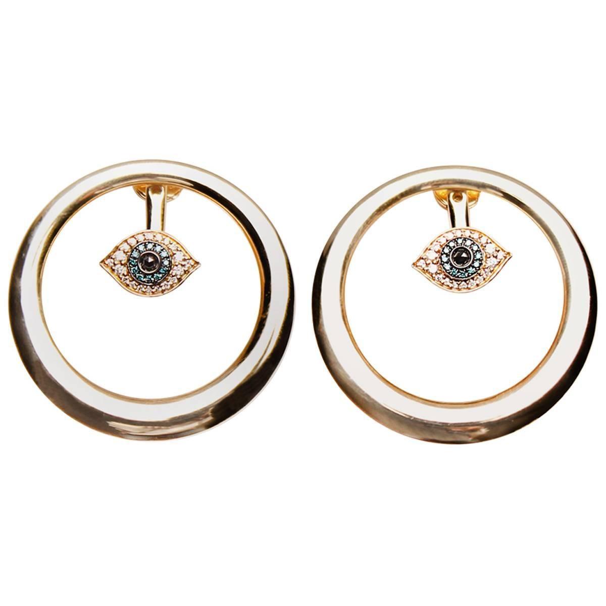 Clarissa Bronfman Yellow Gold Evil Eye Hoop Earrings with Diamonds