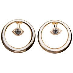Clarissa Bronfman Yellow Gold Evil Eye Hoop Earrings with Diamonds