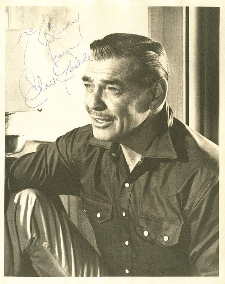Paper Clark Gable Signed Photograph Black and White circa 1930s / 1940s For Sale