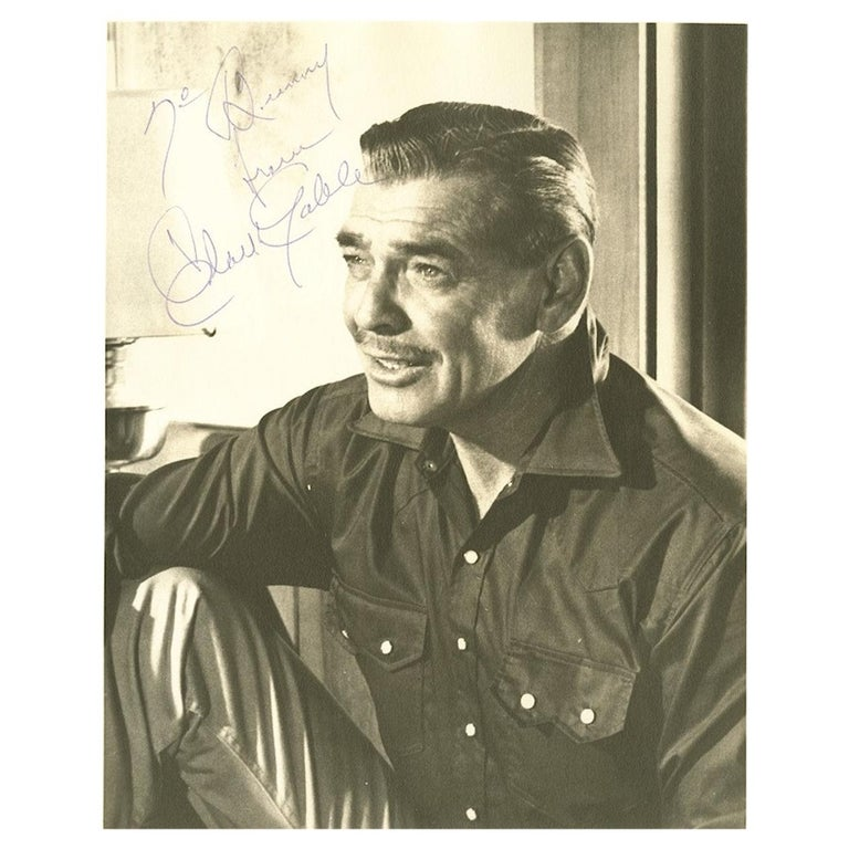 Clark Gable Signed Photograph Black and White circa 1930s / 1940s For Sale