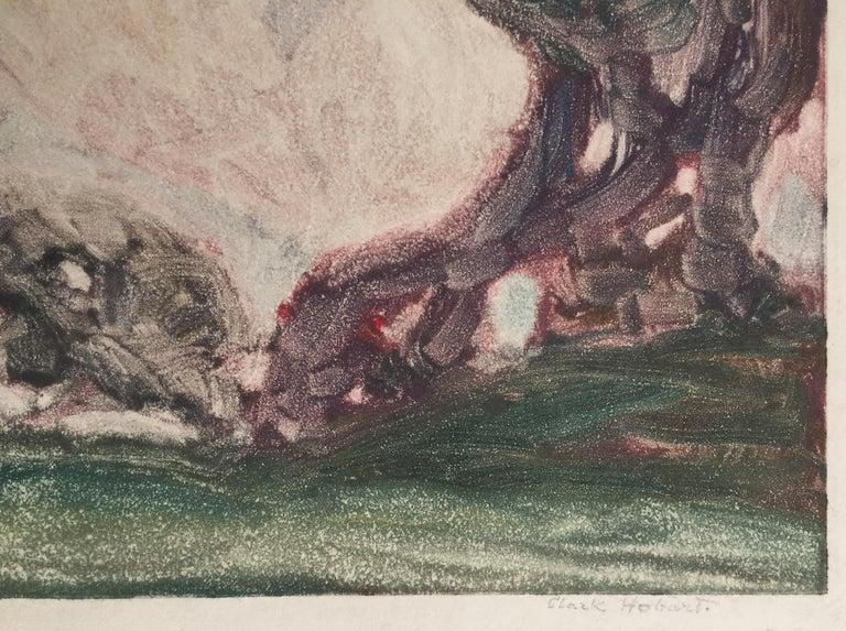 THE OAKS - Gray Landscape Print by Clark Hobart