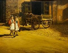 1964 American Realist Sicilian Girls Oil Painting