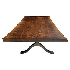 Claro Walnut Bookmatched Live Edge Dining Table, in Stock