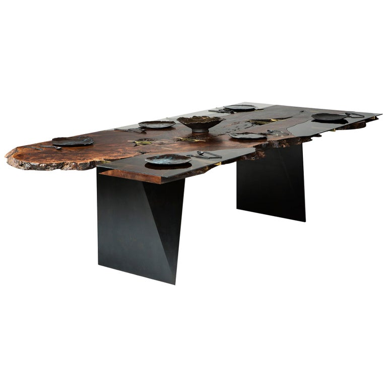 Claro Walnut Corset Dining Table V For Sale
