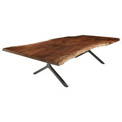 Claro Walnut Single Slab Live Edge Dining Table, in Stock