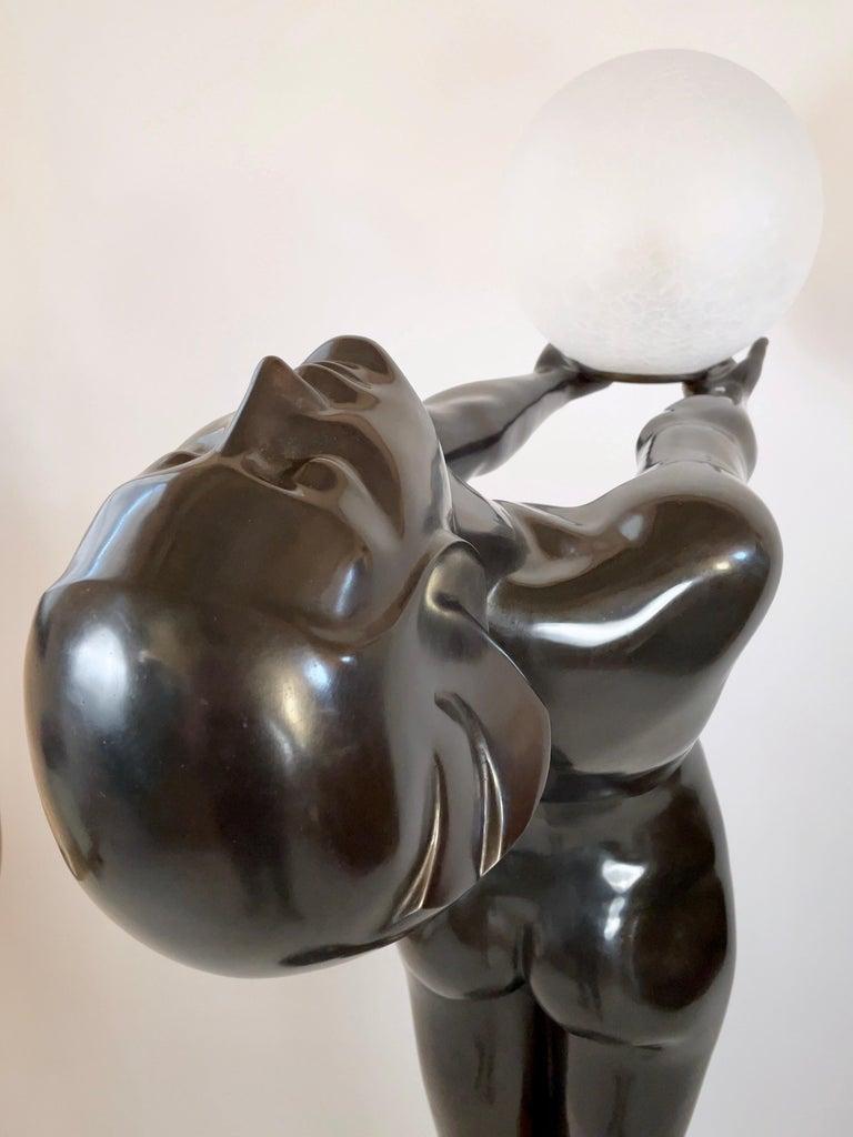 Clarté Very Big Sculpture in Art Deco Style Floor Lamp Original Max Le Verrier For Sale 7