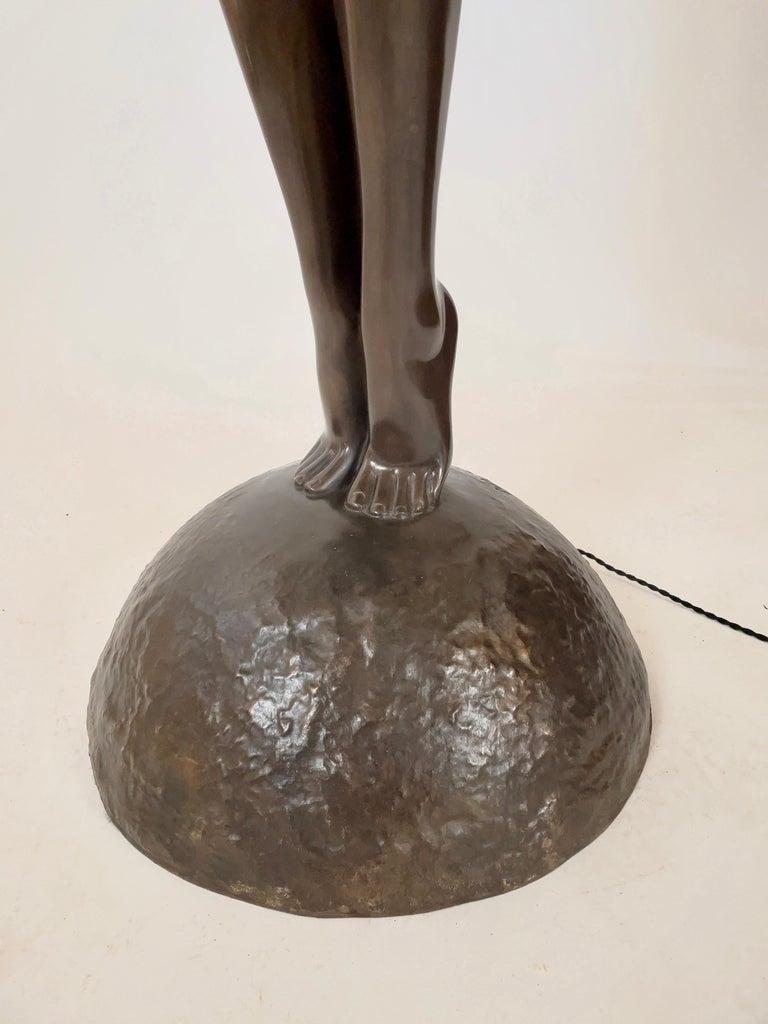 Patinated Clarté Very Big Sculpture in Art Deco Style Floor Lamp Original Max Le Verrier For Sale