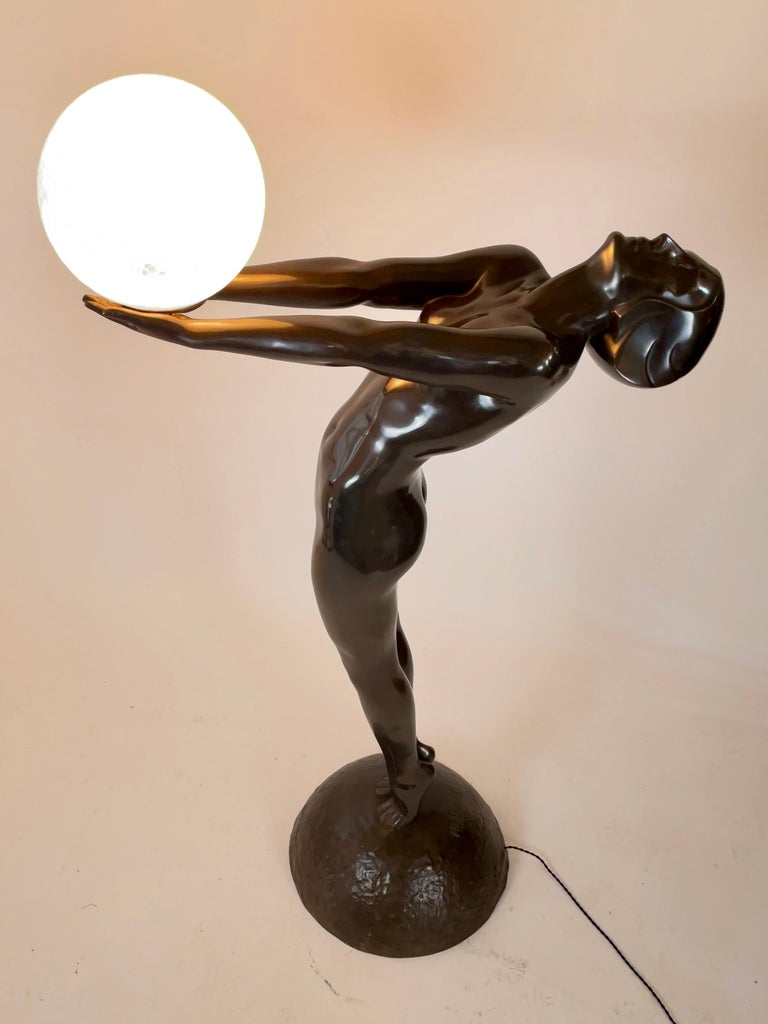 Glass Clarté Very Big Sculpture in Art Deco Style Floor Lamp Original Max Le Verrier For Sale