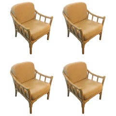 Clasic Set of Four McGuire Club Chairs, Great Scale for Comfort