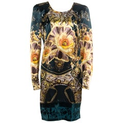 Class by Roberto Cavalli Floral Printed Burnout Velvet Trim Detail Detail Dress