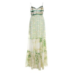 Class by Roberto Cavalli Green and White Ruffled Detail Sleeveless Maxi Dress M
