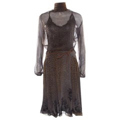 Class by Roberto Cavalli Grey Animal Printed Glitter Detail Cutout Back Dress M
