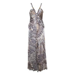 Class by Roberto Cavalli Grey Silk Printed Ruched Bodice Detail Plunge Neck Gown