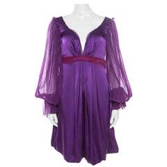 Class by Roberto Cavalli Purple Embroidered Waist Detail Plunge Neck Dress M