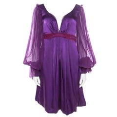 Class by Roberto Cavalli Purple Satin Embroidered Waist Detail Plunge Neck Dress