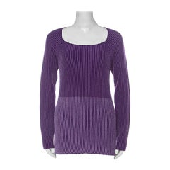 Class by Roberto Cavalli Purple Striped Lurex Jersey Ribbed Long Sleeve Top L