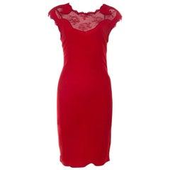 Class By Roberto Cavalli Red Lace Insert Detail Sleeveless Dress M