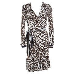 Class by Roberto Cavalli White Leopard Printed Knit Long Sleeve Wrap Dress M