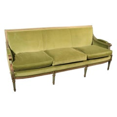 Class Rectangular Back Carved Painted French Louis XVI Settee Sofa, Circa 1950