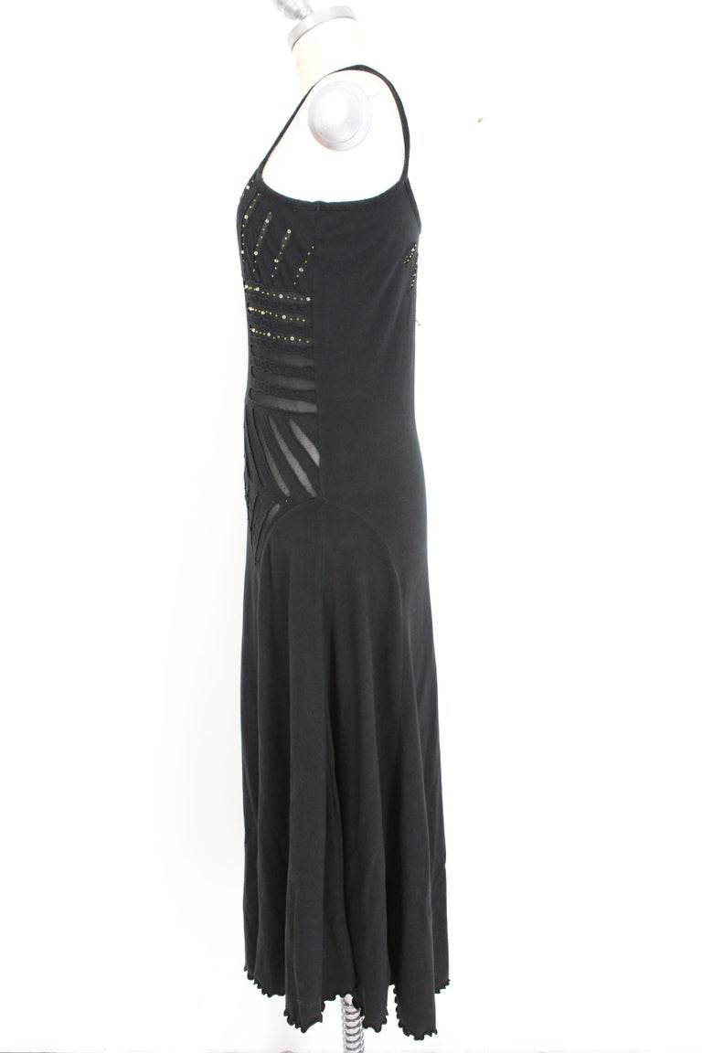 Class Roberto Cavalli Black Cotton Sequins Transparent Cocktail Long Dress  In Excellent Condition For Sale In Brindisi, Bt