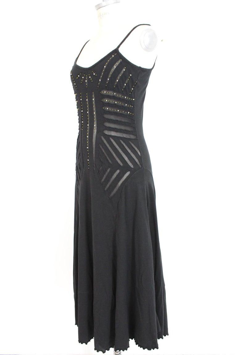 Women's Class Roberto Cavalli Black Cotton Sequins Transparent Cocktail Long Dress  For Sale