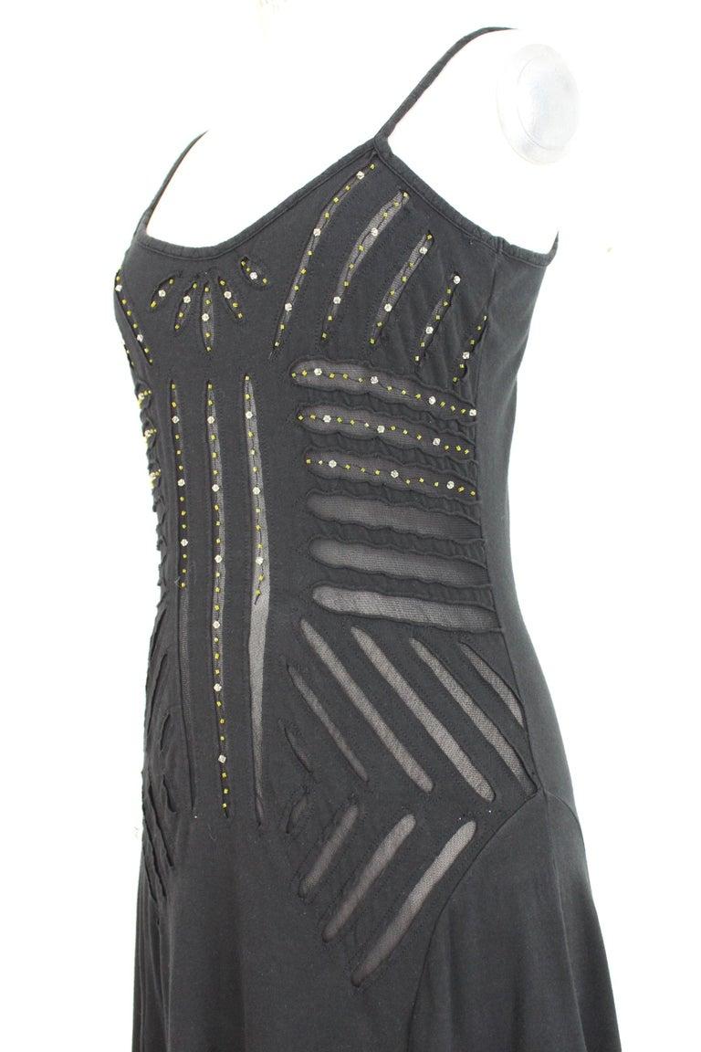 Class Roberto Cavalli Black Cotton Sequins Transparent Cocktail Long Dress  For Sale 1