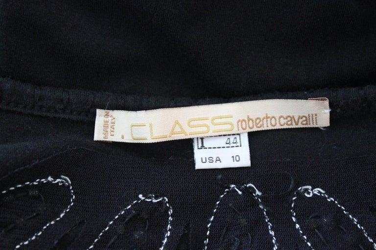 Class Roberto Cavalli Black Cotton Sequins Transparent Cocktail Long Dress  For Sale 2