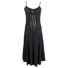 Class Roberto Cavalli Black Cotton Sequins Transparent Cocktail Long Dress