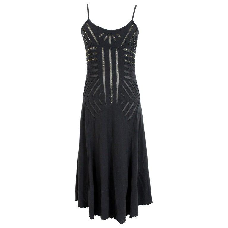 Class Roberto Cavalli Black Cotton Sequins Transparent Cocktail Long Dress  For Sale