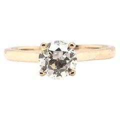 Classic 0.82 Carat European Cut Diamond Solitaire Ring 14 Karat Yellow Gold