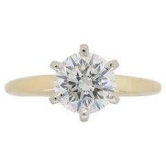 Classic 1.01 Carat Round Brilliant Cut Diamond Engagement Ring