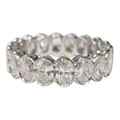 Classic 14 Karat Gold Oval Cut Diamond Channel Set Eternity Ring 4.35 Carat