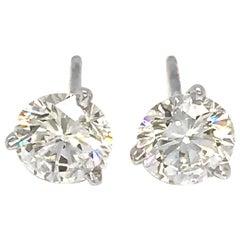 Classic 14 Karat White Gold 1.60 Carat Diamond Studs Earrings