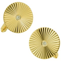 Classic 14 Karat Yellow Gold and Diamond Fluted Cufflinks