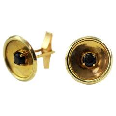 Classic 14 Karat Yellow Gold Round Cufflinks Accented with Black Star Sapphires
