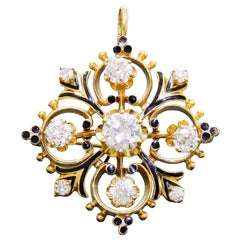 Classic 14K Gold Enamel and Diamond 1.75 Carat Cross Convertible Pendant Brooch