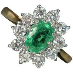 Classic 18 Carat Gold Emerald and 1.00 Carat Diamond Cluster Ring